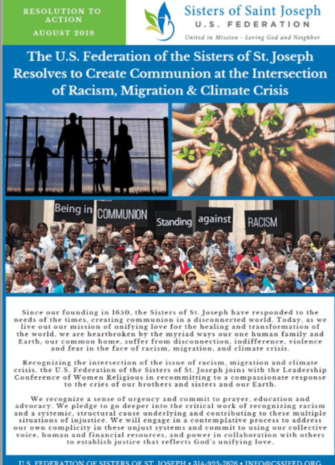 August, 2019: The U.S. Federation of the Sisters of St. Joseph Resolves to Create Communion at the Intersection of Racism, Migration & Climate Crisis